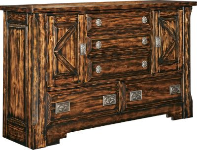 "Entertainment The Mountain Mesa collection is a fresh take on a classic Western style. Each piece is constructed of solid pine and hand-carved throughout, then finished using a special veneer process to reveal an aged, rustic look. Two cabinets and five drawers provide plenty of storage, and hand-polished cast-aluminum belt-buckle handles and tack motif add to the Western flair. All drawers are felt-lined and supported by center wood with waxed, wood-on-wood glides and dust shelves. Coordinating bedroom furniture, including a mountable mirror, is available in this collection.Dimensions: 41H x 68W x 19D. @font-face { font-family: "" "";}@font-face { font-family: ""Cambria Math"";}@font-face { font-family: ""Cambria"";}p.MsoNormal, li.MsoNormal, div.MsoNormal { margin: 0in 0in 0.0001pt; font-size: 12pt; font-family: Cambria; }.MsoChpDefault { font-family: Cambria; }div.WordSection1 { page: WordSection1; } - $1,499.99"