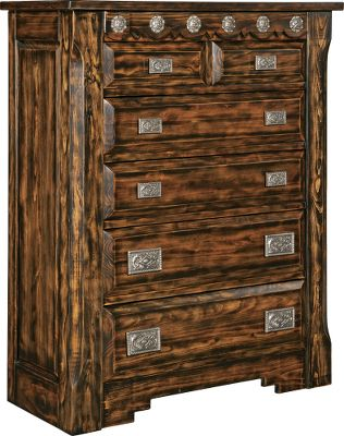 Entertainment The Mountain Mesa collection is a fresh take on a classic Western style. Each piece is constructed of solid pine and hand-carved throughout, then finished using a special veneer process to reveal an aged, rustic look. This chest has four full-width drawers and two half-width drawers with hand-polished cast-aluminum belt-buckle handles of graduating sizes. Cast-aluminum tack adorning the top, front trim also adds to the Western flair. All drawers are felt-lined and supported by center wood with waxed, wood-on-wood glides and dust shelves. Coordinating bedroom furniture is available in this collection.Dimensions: 56H x 45W x 19D. - $1,499.99
