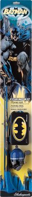 "Fishing Introduce your youngster to fishing with the Shakespeare Batman fishing kits. Available:The Batman Adventure Kit is a great starter and includes a 2'6"", all-in-one rod, a reel with line, a key ring flashlight, a Batman storage box and a practice casting plug.The Batman 50 Kit is perfect when your youngster is ready for a longer rod. It includes a 5'0"" two-piece solid rod with soft-touch handle, E-Z Cast 8 spincasting reel with line and Batman tackle box. - $17.99"