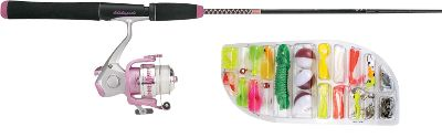 Fishing A ready-to-fish combo that includes a 64-piece tackle assortment. It features a five-foot, two-piece, Ugly Stik rod with comfortable, ergonomic EVA grips designed especially for women. The pre-spooled, 30-size graphite reel offers corrosion-resistant durability and a smooth ball-bearing drive. - $29.99