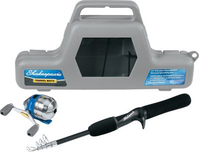 Fishing Compact, go-anywhere rod and reel kits designed for the everyday angler who wants a quick, convenient setup as soon as they find the perfect pond or roadside fishing hotspot. Each kit comes with a rod, reel, and a hard-body carry case that has six compartments for tackle. Fold-down handle for easy portability. Available: TRVL46TSPMCKIT 46 five-piece ultralight rod with a 13-1/2 collapsed length. Microcast spincasting reel filled with 4-lb. line. TRVL56TSPKIT 56 telescopic ultralight rod with a 14 collapsed length. 30-size spinning reel filled with 8-lb. line. Case includes built-in adjustable storage compartments. TRVL66TSPKIT 66 telescopic medium rod with a 15 collapsed length. 35-size spinning reel filled with 8-lb. line. Case includes built-in adjustable storage compartments. (Not shown.) - $18.88