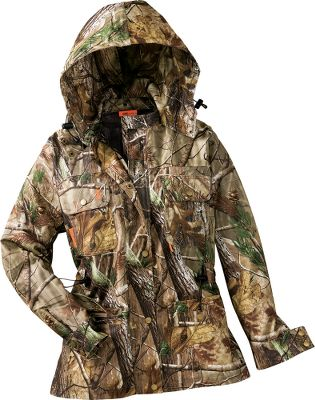 Hunting Designed specifically for the huntress. The field-ready pieces perform like they should, while maintaining a feminine style. Rain Pack Jacket offers waterproof, breathable comfort in a lightweight, packable size. Jacket has removable hood with adjustable drawstring, air-cooling underarm vents and side-cinching waist. Soft Silence tricot knit. Imported. Sizes: XS-2XL. Camo pattern: Realtree AP . - $99.88