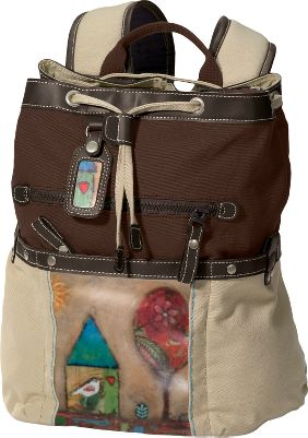Camp and Hike Nature-inspired artwork and a tablet- and e-reader-friendly design offer stylish everyday convenience. Made of 100% cotton canvas with faux-leather trim and a honeycombed lining. The deep main compartment features a double-sealed top that zips shut and cinches closed with a drawstring. Two zippered exterior security pockets. Two fast-access magnetically closed exterior pockets. Gear-organizing pocket on the interior wall. Padded shoulder straps. Built-in key fob. Imported.Dimensions: 9L x 12W x 5D.Available: Never Let Go, Surfer Girl, Beginning, Sky, Song, Falling Tree, Color My World, Let Love Rule, 2 Songs. - $89.95
