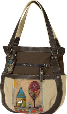A fashionable shoulder bag with nature-inspired artwork and a tablet- and e-reader-friendly design. Made of 100% cotton canvas with faux-leather trim and a honeycombed lining. Large main compartment has a fast-access magnetic buckle closure. Four deep exterior pockets and one zip-close exterior security pocket. Item-organizing pockets on interior wall. Interior zippered security pocket. Built-in key fob. Imported.Dimensions: 15L x 14W x 4D.Available: Never Let Go, Beginning, Sky, Song, Falling Tree, Color My World, 2 Songs. - $89.95