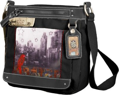 Featuring original artwork by Cathy Nichols, each shoulder bag is crafted of cotton canvas with faux-leather trim and light honeycomb lining. Magnetic and zippered front pockets are easily accessible. Zippered main compartment with interior organization. Adjustable shoulder strap. Open back pocket. Imported.Dimensions: 10H x 10W x 3.5D.Style: Color My World. - $64.95