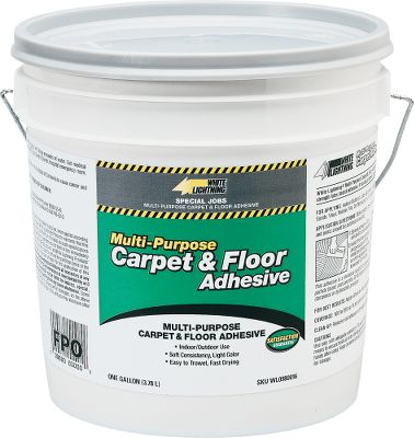 Motorsports The perfect match for installing marine carpets. Simple to apply with a notched trowel, Carpet and Floor Adhesive is highly recommended by our carpet supplier for marine applications. Adhesive is latex-based and can be cleaned up with water. For use over concrete, plywood, APA marine-grade particle board, OSB, Terrazzo, hardwood floors, VCT and felt-backed vinyl-sheet products. Covers 12-15 sq. yds. Per gallon. Type: Vinyl Adhesive. - $27.99