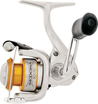 Fishing Give yourself the upper hand on the water with the improved features of the Sedona. Its Super Stopper II anti-reverse roller bearing eliminates backplay. Four shielded stainless steel ball bearings ensure smooth operating performance at all times. The DynaBalance rotors eliminate wobble during retrieves. It also has a sturdy graphite frame, sideplate and rotor, and a Power Roller III line roller that reduces twist from casting and retrieving. A Fluidrive II polished oversized drive gear increases the efficiency of your retrieves. The Super Stopper II anti-reverse roller bearing ensures rock-solid hooksets. Its Propulsion spool lip provides longer casting distances than a standard spool lip design while preventing backlashes. S-Arm Cam has a protruding lower surface on the bail arm to prevent slack that would lead to line cuts or tangles. Designed with 3-D surface modeling software, the S-Rotor (500 model only) ensures a comfortable retrieve. S-Guard prevents impact damage to the frame and rotor. Machined-aluminum handle. Maintenance port (500 model only) allows easy access to internal gears for lubrication. Floating shaft reduces friction between the pinion gear and spool shaft for smoothness and durability. Cold-forged aluminum spool. Rubber handle grips. Color: Stainless Steel. Type: Spinning Reels. - $44.88