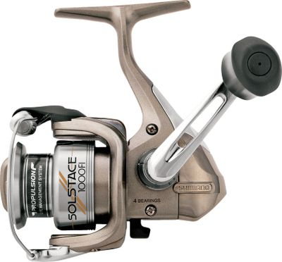 Fishing Just because you're on a budget doesn't mean you have to settle for less when it comes to spinning reels. Here's a perfect example. The slim design, lightweight construction and Fluidrive II gearing lets you know you're getting Shimano excellence with every cast. Three shielded stainless steel bearings and a Super Stopper II anti-reverse roller bearing ensure solid hooksets. DynaBalance rotor prevents wobble. Propulsion spool lip provides longer casting distances than a standard spool lip design while preventing backlashes. Power Roller III is an oversized line roller that reduces twist from casting and retrieving. Varispeed oscillation results in even line lay for excellent castability. S-Arm Cam keeps slack line in contact with the line roller to further reduce the chance of tangles and line cuts. S-Guard prevents impact damage to the frame and rotor. Lightweight graphite frame, sideplate and rotor. Cold-forged aluminum spool. Ported handle shank and rubber handle grips. Color: Stainless Steel. - $24.88