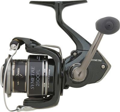 Fishing Long a favorite with spinning-reel anglers, the Symetre now has even more to like with improvements that include Shimanos M compact body design for weight reduction, Propulsion Line Management System that delivers trouble-free, tangle-free casting, and Varispeed 11 oscillation for even line lay and long casts. Four A-RB anti-rust ball bearings for smooth retrieves, along with a Super Stopper II anti-reverse roller bearing to eliminate backplay. DynaBalance in the rotor eliminates wobble during retrieves, and slow oscillation creates perfect line lay for superior casting distance and maximum contact with your bait or lure during the retrieve. Propulsion spool lip provides longer casting distances. S-Rotor ensures a comfortable retrieve. S-Guard prevents impact damage to the frame and rotor. S-Arm Cam and redesigned one-piece bail keeps slack line in contact with the line roller to reduce the chance of tangles and line cuts. X-Ship technology for solid cranking power. Graphite frame, sideplate and rotor. Durable stamped bail. Type: Spinning Reels. - $69.99