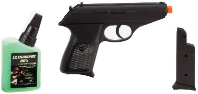 Shoot the officially licensed airsoft replica of the Sig Sauer P230. The authentic 1:1 scale size looks just like the original. Shoots BBs up to 180 feet per second. Includes two magazines for double the ammunition. - $14.99