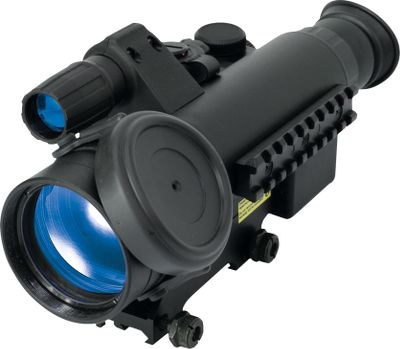 Hunting A universal nightvision system for hunting, observation, photo or video applications with Generation 1 passive starlight technology, which doesnt rely on artifical light for operation. Built-in, high-powered IRilluminator with beam focus. Custom incremental reticle brightness adjustment. Selectable two-color rangefinding reticles (red or green). Versatile close- focus range for high-quality images at 5 yards. Lightweight, ergonomic titanium body with an IPX4 water resistance rating. Protective flip-up objective lens cover. Vertical battery positioning provides an uninterrupted power supply while shooting. Precision windage and elevation adjustments. Includes protective carry case, remote control, extra Weaver rail for accessories and a photo/video adapter.Due to popular demand from our varmint-hunting customers, we have found some of the best nightvision riflescopes available. Cabelas does not condone the use of these products for illegally taking big-game animals after legal shooting hours. Check local game laws for legality in your area. Type: Night Vision Riflescopes. Power: 2.5. Night Raider 2.5x50. - $489.88