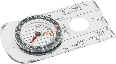 Camp and Hike Ergonomically shaped, this compass has an extended base plate with inch and 1/10-mile direct reading scales that meet USGS standards. It has 1:24,000 and 1:62,500 direct read scales, 2 dial graduations and a built-in magnifier to view map details. It also has a declination scale for adjustment of map bearings. A lanyard is included. Weight: 1.2 oz. Available: Explorer Hi-Vis. - $14.88