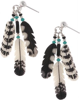 Entertainment Silver Hawk, the original Bone Feather Jewelry, is crafted in the Rocky Mountains of Colorado. Each bone feather is hand-carved and hand-painted for elaborate feathering detail. Sterling silver posts. Made in USA. Feather length: 3/4 . - $79.99