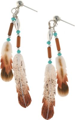 Entertainment Silver Hawk, the original Bone Feather Jewelry, is crafted in the Rocky Mountains of Colorado. Each bone feather is hand-carved and hand-painted for elaborate feathering detail. Sterling silver posts. Made in USA. Feather lengths: 3/4, 1-1/4. - $79.99