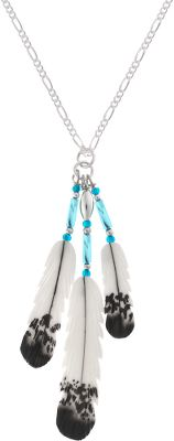 Entertainment Silver Hawk, the original Bone Feather Jewelry, is crafted in the Rocky Mountains of Colorado. Each bone feather is hand-carved and hand-painted for elaborate feathering detail. Necklace has three feathers: one large (1-1/2), one small (1-1/4) and one mini (3/4). Sterling silver chain. Made in USA. Necklace feather lengths: 1-1/2, 1-1/4, 3/4. Chain length: 18. - $69.99
