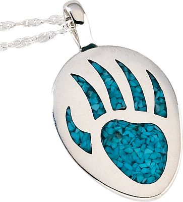 Entertainment The use of turquoise in jewelry dates back more than 7,000 years to ancient Europe. Later, it was sought by early American Indians as a good luck charm. Now, enjoy your own good luck with a silver pendant inlaid with a turquoise bear paw print. It has an 18 sterling silver light rope chain. Color: Turquoise. Gender: Female. Age Group: Adult. Type: Pendants. - $95.99