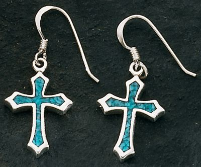 Entertainment Splendidly crafted of silver and turquoise, these cross-shaped dangle earrings elegantly display an enduring symbol of faith. Dimensions: 7/8 x 9/16. Color: Silver. Gender: Female. Age Group: Adult. - $59.99
