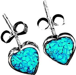 Entertainment The use of turquoise in jewelry dates back more than 7,000 years to ancient Europe. Later, it was sought by early American Indians as a good luck charm. Now, enjoy a good luck charm of your own with the classic style, sterling silver and authentic turquoise chips in these Heart Post Earrings. Color: Turquoise. Gender: Female. Age Group: Adult. Type: Earrings. - $27.99