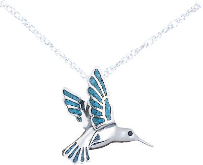 Entertainment The use of turquoise in jewelry dates back more than 7,000 years to ancient Europe. Later, it was sought by early American Indians as a good luck charm. Now, enjoy a good luck charm of your own with the classic style, sterling silver and authentic turquoise chips in this Hummingbird Pendant. Comes with an 18 sterling silver light rope chain. Chain length: 18. Pendant: 3/4L x 5/8W. Color: Turquoise. Gender: Female. Age Group: Adult. Type: Necklaces. - $39.99