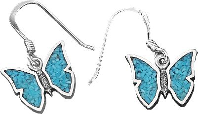 Entertainment The use of turquoise in jewelry dates back more than 7,000 years to ancient Europe. Later, it was sought by early American Indians as a good luck charm. Now with the Butterfly Dangle Earrings, enjoy a good luck charm of your own with its own classic style in authentic turquoise chip. Color: Turquoise. Gender: Female. Age Group: Adult. Type: Earrings. - $43.99