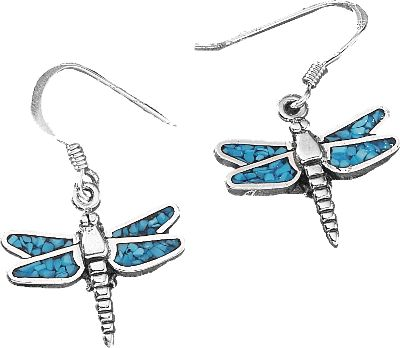 Entertainment The use of turquoise in jewelry dates back more than 7,000 years to ancient Europe. Later, it was sought by early American Indians as a good luck charm. Now with the Dragonfly Dangle Earrings, enjoy a good luck charm of your own with its own classic style in authentic turquoise chip. Color: Turquoise. Gender: Female. Age Group: Adult. Type: Earrings. - $47.99