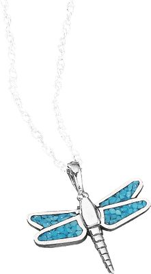 Entertainment The use of turquoise in jewelry dates back more than 7,000 years to ancient Europe. Later, it was sought by early American Indians as a good luck charm. Now with the Dragonfly Pendant, enjoy a good luck charm of your own with its own classic style in authentic turquoise chip. 18 sterling silver light rope chain. Color: Turquoise. Gender: Female. Age Group: Adult. Type: Necklaces. - $47.99