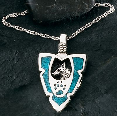 Entertainment The use of turquoise in jewelry dates back more than 7,000 years to ancient Europe. Later, it was sought by early American Indians as a good luck charm. Likewise, the wolf has fascinated cultures for centuries. Intelligent, strong and mysterious, its image will show others that you have a connection with nature. This silver and turquoise pendant elegantly depicts a wolfs profile and paw print on an 18 sterling silver light rope chain. Color: Turquoise. Gender: Female. Age Group: Adult. - $89.99