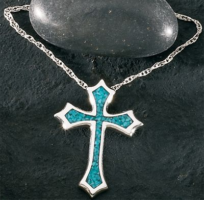 Entertainment A beautiful silver and turquoise cross on an 18 sterling silver light rope chain. Chain length: 18. Pendant: 1-1/4L x 1W. Color: Silver. Gender: Female. Age Group: Adult. Type: Necklaces. - $47.99