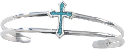 Entertainment Beautiful 92.5 sterling silver forms the shape of a cross, which is then filled with a striking turquoise inlay. Turquoise is believed to clear the head, opening you up to positive thinking and good luck. 3/4 x 2-1/4 sterling silver band. Handcrafted in the USA. Color: Silver. Gender: Female. Age Group: Adult. Type: Bracelets. - $87.99
