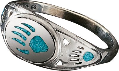 Entertainment The use of turquoise in jewelry dates back more than 7,000 years to ancient Europe. Later, it was sought by early American Indians as a good luck charm. Now, with this beautiful Bear Paw Ring, enjoy a good luck charm of your own with its inlaid turquoise chip.Whole sizes: 7-9. - $54.99