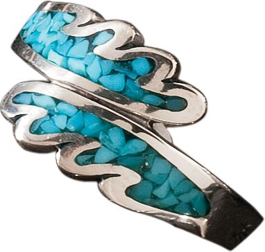 Entertainment The use of turquoise in jewelry dates back more than 7,000 years to ancient Europe. Later, it was sought by early American Indians as a good luck charm. Now, with this beautiful Feather Ring, enjoy a good luck charm of your own with its inlaid turquoise chip. Whole sizes: 7, 8, 9. - $64.99
