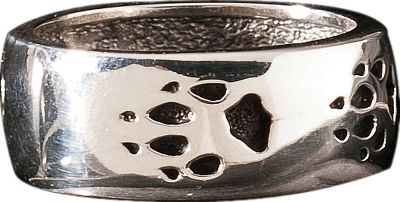 Entertainment A stunning 3/8W x 7/8-dia. unisex Wolf Paw ring crafted of pure sterling silver. Whole sizes: 7-13. Color: Silver. Gender: Female. Age Group: Adult. Type: Rings. - $109.99