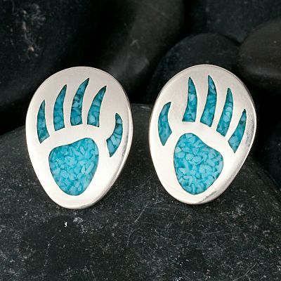 Entertainment The use of turquoise in jewelry dates back more than 7,000 years to ancient Europe. Later, it was sought by early American Indians as a good luck charm. Now, with these beautiful Bear Paw Post Earrings, enjoy a good luck charm of your own with its inlaid turquoise chip. Sterling silver posts with hypoallergenic nuts. Earring dimensions: 1/2L x 5/8W. Color: Silver. Gender: Female. Age Group: Adult. Type: Earrings. - $43.99