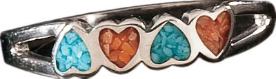 Entertainment An elegant ring inlaid with a blend of turquoise and coral chip. Sought by early American Indians, turquoise is believed to be a good luck charm. All-natural coral is known to be protective and soothing.Ring dimensions: 5/8L x 1/8W.Whole sizes: 7, 8, 9. - $34.99
