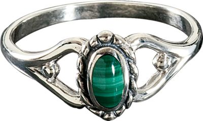 Entertainment Given its name due to its resemblance to the leaves of a mallow plant, the vibrant green malachite stone adds a balanced, natural elegance to this sterling silver ring. Dimensions: 11/16L x 3/8W. Whole sizes: 7-9. Color: Silver. Gender: Female. Age Group: Adult. Type: Rings. - $39.99