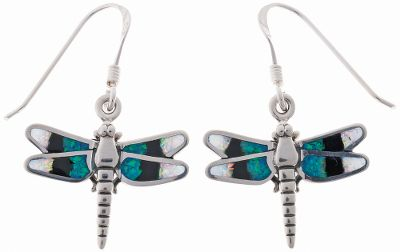Entertainment These colorful opal earrings feature dangling dragonflies inlaid with black resin and man-made white and blue opal, which is more durable and consistent in color than natural opal. Sterling-silver shepherds hook ear wires. Made in USA.Dimensions: 5/8L x 3/4W. - $79.99