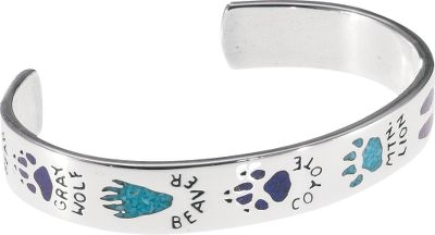 Entertainment This bracelet was built for animal lovers. Crafted of sterling silver, it depicts multiple animal tracks inlaid with turquoise and lapis chip. 7/16W fits wrist up to 6-3/4. Made in USA. - $329.99