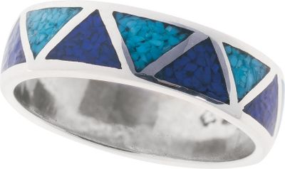 Entertainment A simple, Southwestern style makes up the pattern of this ring, great for him or her. The triangles are outlined with sterling silver and inlaid with turquoise chips and lapis chips, a navy blue man-made material. Made in USA.Dimensions: 1/4W. Whole sizes: 4-15. - $89.99