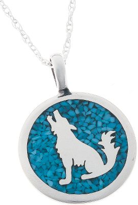 Entertainment Turquoise is believed to bring good luck and protect against evil, and the majestic wolf is a symbol of bravery. This striking sterling silver pendant features the silhouette of a howling wolf, surrounded by inlaid turquoise chip. It suspends from a sterling silver chain. Made in USA.Pendant dimensions: 1-3/8L x 7/8W.Chain length: 18. - $99.99