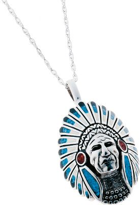 Entertainment Beautifully handcrafted Native American piece is accented with turquoise chip, black resin, coral chip and white resin for an eye-catching look. Sterling silver chain. Made in USA. Pendant dimensions: 7/8 x 1-5/8. Chain length: 18. Size: L. Color: Silver. Gender: Female. Age Group: Adult. Type: Necklaces. - $215.99