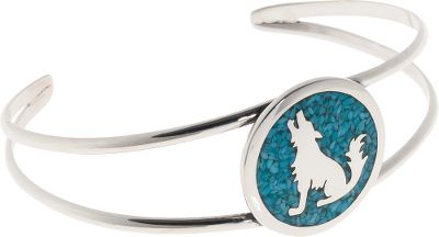 Entertainment A beautiful addition to any jewelry box. This sterling silver bracelet is inlaid with turquoise chip, which is believed to bring luck to the wearer. 7/8W fits wrist up to 6-3/4. Made in USA. - $179.99