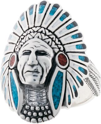 Entertainment This sterling silver ring features a dignified Native American warrior in his headdress of feathers, beautifully inlaid with turquoise and coral chips and black and white resin. Made in USA.Dimensions: 1-1/4 x 7/8.Whole sizes: 8-15. - $309.99