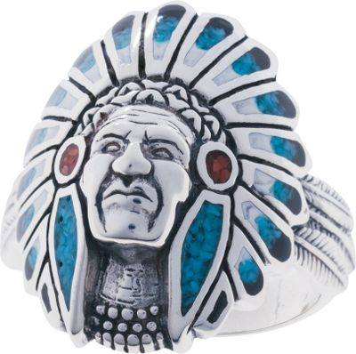 Entertainment This sterling silver ring features a dignified Native American warrior in his headdress of feathers, beautifully inlaid with turquoise and coral chips and black and white resin. Made in USA. Dimensions: 1 x 3/4. Whole sizes: 7-15. Size: 11. Color: Silver. Gender: Male. Age Group: Adult. Type: Rings. - $189.99