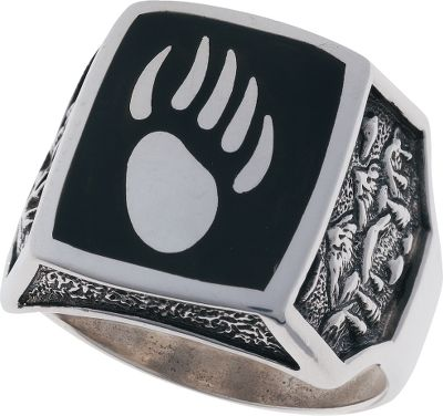 Entertainment This sterling silver mens ring features polished-black resin inlaid around a sterling silver bear-paw print, a contrast that really distinguishes this ring from others. A mountain scene embellishes the sides of the band. Made in USA. Setting dimensions: 5/8 L x 3/4W. Whole sizes: 7-15. - $199.99