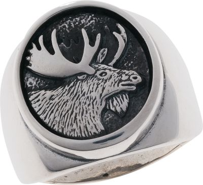 Hunting Moose lovers will go crazy over this sterling silver mens ring featuring a portrait of a moose on the setting. The simplistic detailing honors the majestic moose in a complementary oval frame. Made in USA.Setting dimensions: 7/8L x 11/16W.Whole sizes: 7-15. - $169.99