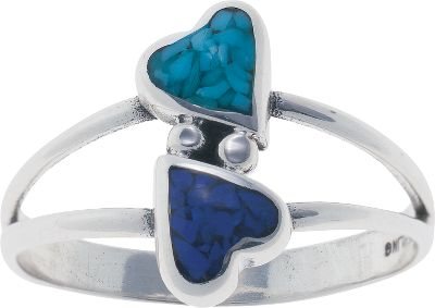 Entertainment Two fun and playful hearts hug in this sterling silver ring from Silver Legends. One heart is inlaid with turquoise chips, which is believed to protect against evil and bring good luck. The second heart is inlaid with lapis chips, a navy blue man-made material. Made in USA.Dimensions: 3/4L x 1/2W.Whole sizes: 4-9. - $49.99