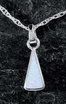 Entertainment A simple and elegant sterling-silver triangle pendant is inlaid with white man-made opal, which is more durable and consistent than natural opal. It suspends from one peak from a sterling-silver chain. Made in USA. Pendant dimensions: 5/8L x 1/4W. Chain length: 18. - $49.99