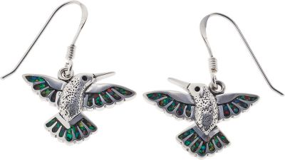 Entertainment These sterling silver dangle earrings feature beautiful, tiny hummingbirds inlaid with black resin and man-made opal, which is more durable and consistent in color than natural opal. They hang from shepherds hook ear wires. Made in USA.Dimensions: 5/8L x 3/4W. - $99.99