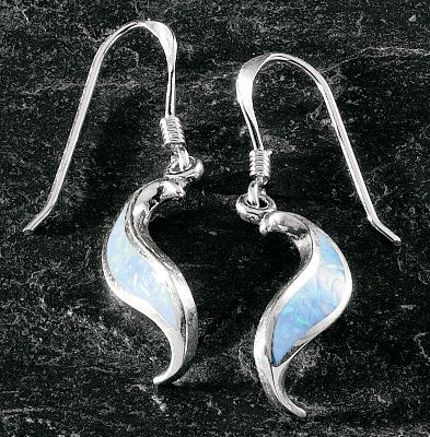 Entertainment These ribbon-shaped opal earrings are inlaid with man-made opal, which is more durable and consistent in color than natural opal. Sterling silver post and hypoallergenic backs. Made in USA. Dimensions: 3/4L x 3/16W. Color: Silver. Gender: Female. Age Group: Adult. - $59.99