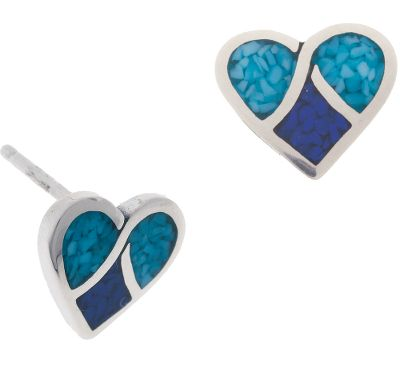 Entertainment These pretty, sterling-silver earrings are inlaid with lapis and turquoise chips turquoise is believed to protect against evil and bring good fortune to those who wear it. Lapis is a navy blue man-made material. Sterling-silver posts and hypoallergenic backs. Made in USA.Dimensions: 3/8L x 3/8W. - $49.99